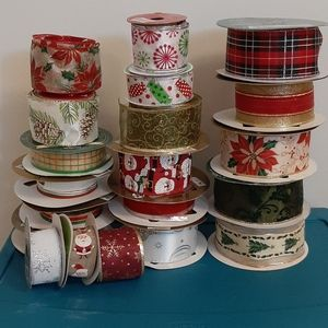 Large Christmas Wired Ribbon Lot